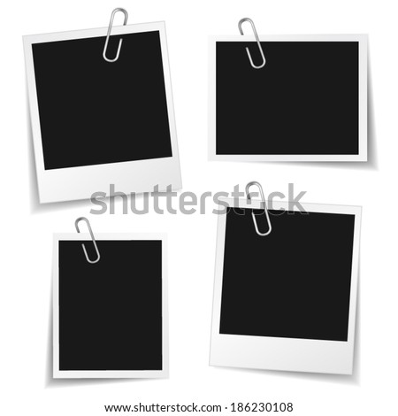 Collection of blank photo frames with paper clip and different shadow effect and empty space for your photograph and picture. EPS10 vector illustration isolated on white background. - stock vector