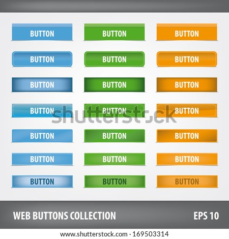 Collection of blank web buttons. Vector set - stock vector