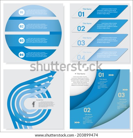Collection of blue color design clean number banners template/graphic or website layout. Vector. - stock vector