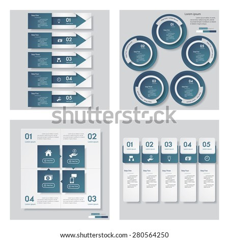 Collection of 4 blue color template/graphic or website layout. Vector Background. For your idea and presentation. - stock vector
