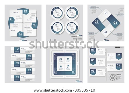 Collection of 6 blue color template/graphic or website layout. Vector Background. For your idea and presentation. - stock vector