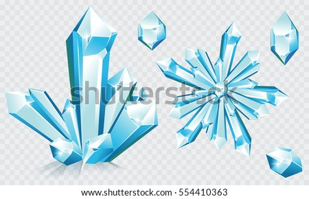 Collection of blue ice crystals and crystal snowflake