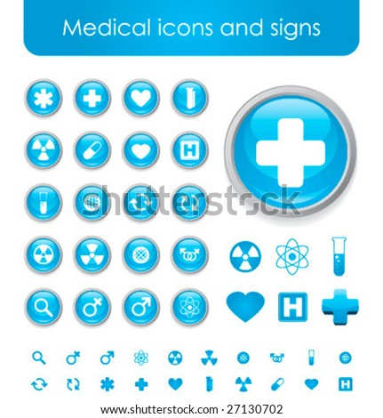 Collection of blue medical themed icons and warning-signs - stock vector