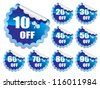 Collection of blue stickers on white background - stock vector