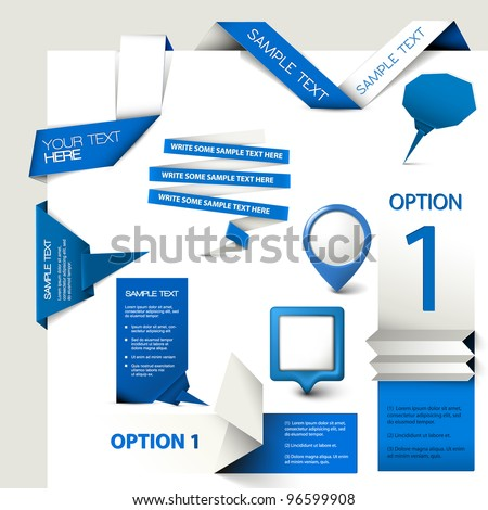 Collection of blue Vector web elements - stock vector