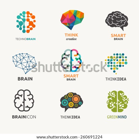 Collection of brain, creation and idea icons and elements. Vector illustrations - stock vector