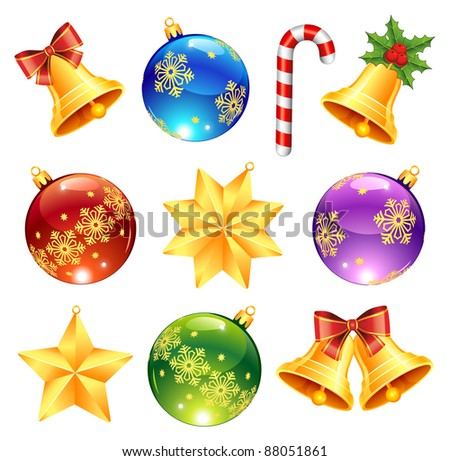 Collection of bright Christmas decorations - stock vector