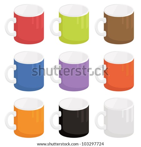 collection of bright mugs isolated on white - stock vector
