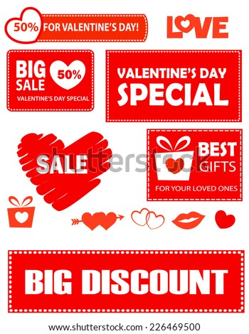 Collection of bright red valentines day sale and discount banners with text and related clip art collection isolated on white - stock vector
