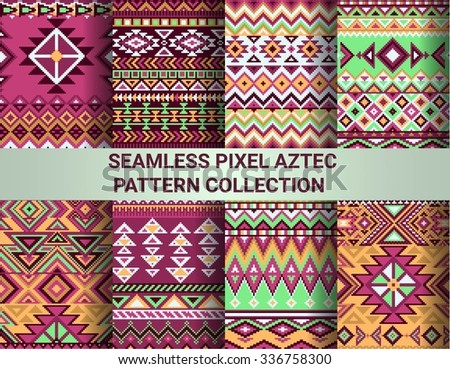 Collection of bright seamless pixel patterns in tribal style. Aztec geometric triangle and chevron patterns. - stock vector