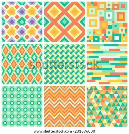 Collection of bright simple vector seamless patterns with geometric ornament. Colorful zig zag, argyle, triangles and squares mosaic tileable backgrounds