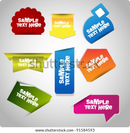 collection of bright stickers/tags - stock vector