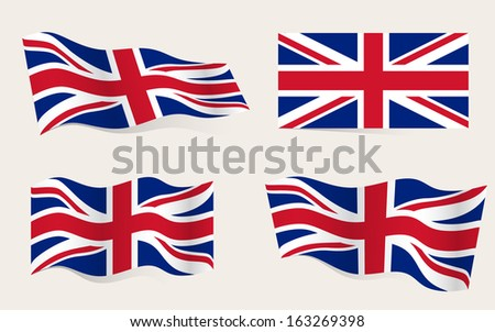 Collection of british flags moving in the wind in vector - stock vector