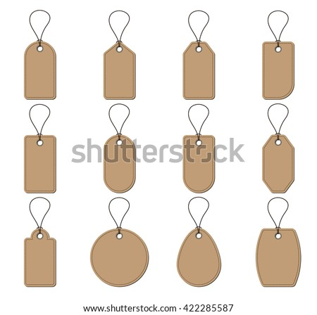 Collection of brown price tags on white background