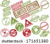 "Collection of 22 brown, red and green grunge rubber stamps with text ""LIMITED EDITION"" . Vector illustration - stock vector"