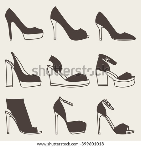 Collection of brown shoes silhouettes on gray background