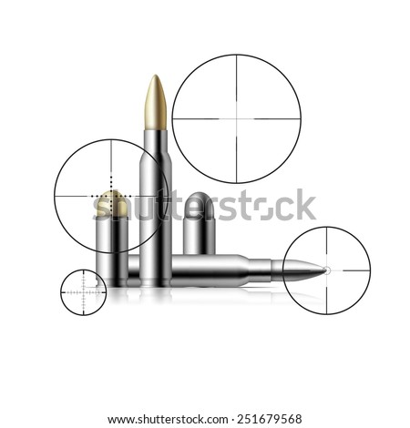 Collection of bullets. Object isolated on bol background. Vector illustration of a sniper rifle scopes and bullets - stock vector