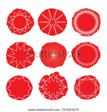 Collection of bursting rays on grunge circle backgrounds. Trendy retro stars, sunburst, sparkles set. As design element, for  vintage Christmas decoration, labels. Isolated on white. Eps 10. - stock vector
