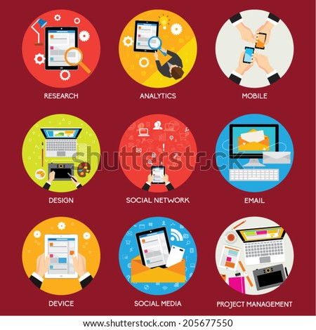 Collection of Business and Office Conceptual Vector Design - stock vector
