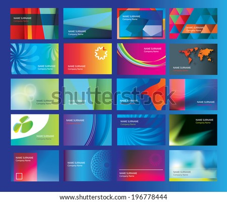 collection of business cards for a new branding modern new business start ups and companies, vector illustration