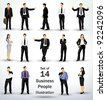 Collection of business people in different poses - stock
