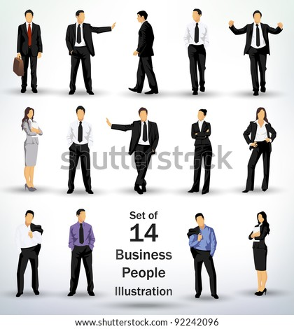 Collection of business people in different poses - stock vector