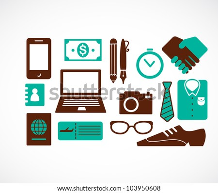 collection of business travel icons - stock vector