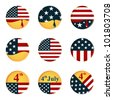 collection of buttons with American flag and 4th of July Independence day theme - stock photo