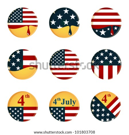 collection of buttons with American flag and 4th of July Independence day theme - stock vector