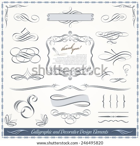 Collection of calligraphic and decorative design patterns, embellishments in vector format.  - stock vector