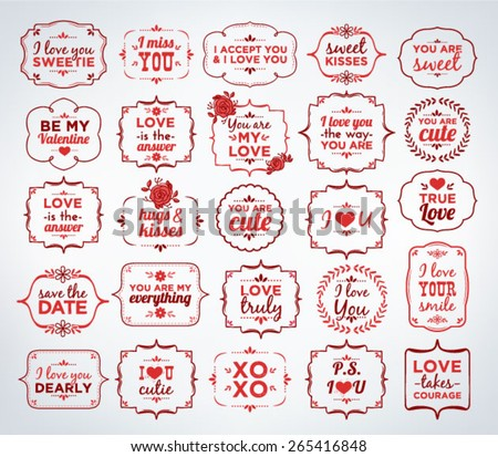 Collection Of Calligraphic And Typographic Valentine/Love Vintage Design - stock vector