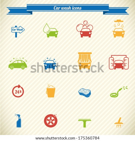 Collection of car wash service icons in color - stock vector
