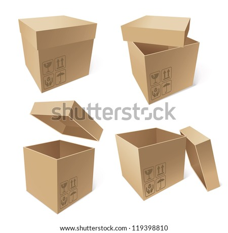 Collection of cardboard boxes isolated on white background, vector illustration - stock vector