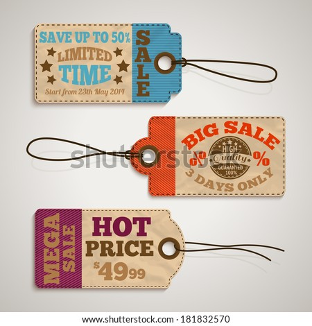 Collection of cardboard sale price tags design templates vector illustration - stock vector