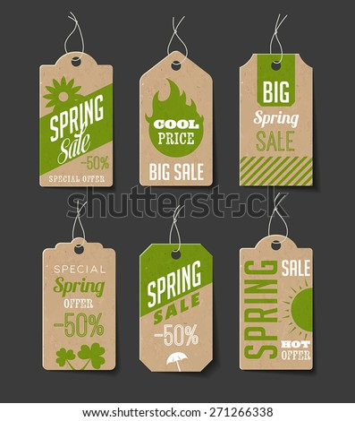 Collection of cardboard sales labels. Can be used as price tags. - stock vector