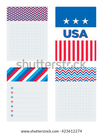 Collection of cards and notes with USA patriotic patterns and illustrations.