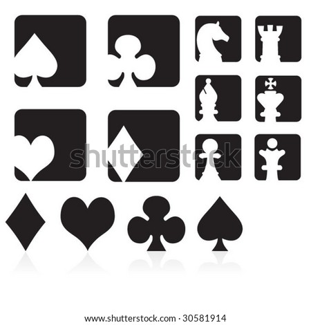 Collection of Cards & Chess Symbols & Icons - stock vector
