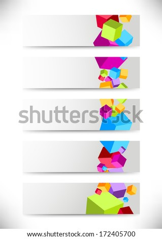 Collection of cards with colorful cubes. Vector illustration - stock vector