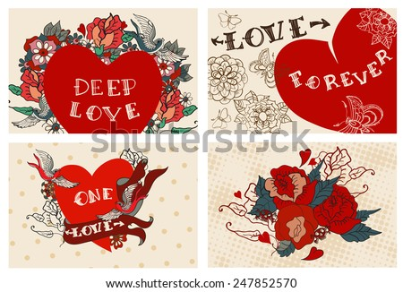 Collection of cards with flowers for Valentine design, old school tattoo style, VECTOR - stock vector