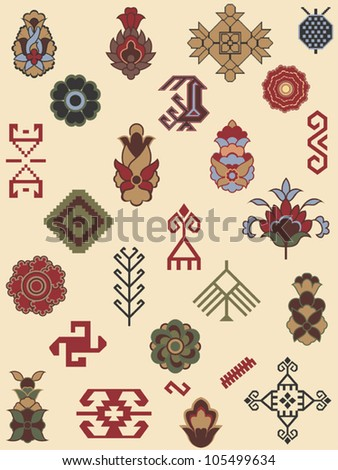 Collection of carpet patterns - stock vector