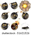Collection of cartoon bomb expression, isolated funny vector emoticons - stock vector