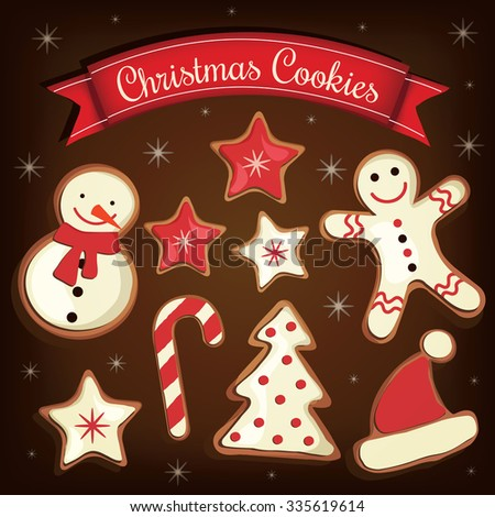 Collection of cartoon Christmas cookies (Gingerbread). Vector illustration - stock vector