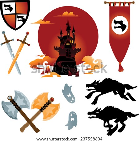 Collection of cartoon fairy tale: castle, dragon, monsters and weapons. - stock vector