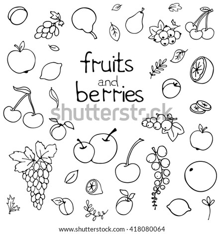 Collection of cartoon fruits and berries. Vector illustration. Set of fruit and berry icons.Black outline. Isolated.Web icon hand drawn in doodle style.Design elements - stock vector