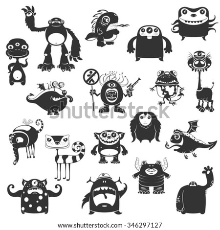 Collection Of Cartoon Funny Monsters Silhouettes On White Background