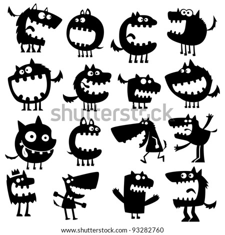 Collection of cartoon funny vector animals silhouettes stock image