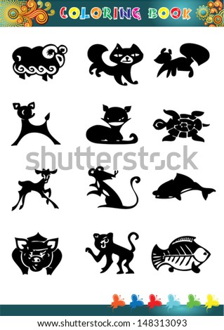 Collection of cartoon funny vector silhouettes only the coloring book.