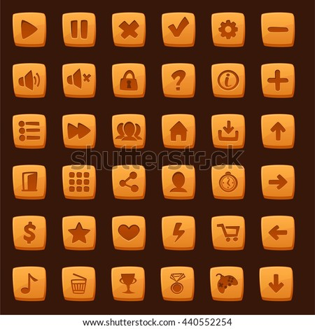 Collection of cartoon menu buttons for mobile casual games. Vector illustration. - stock vector
