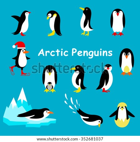 Collection of cartoon penguin isolated on a blue background