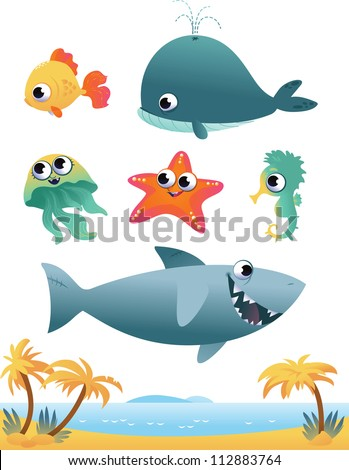 Collection of cartoon vector sea animals on white background - stock vector